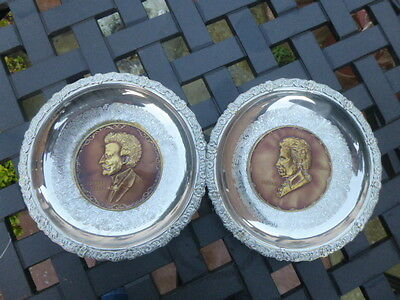 Pair * Silver Plated * Wall Hanging Plaques Of Mozart & Johann Strauss * Bargain