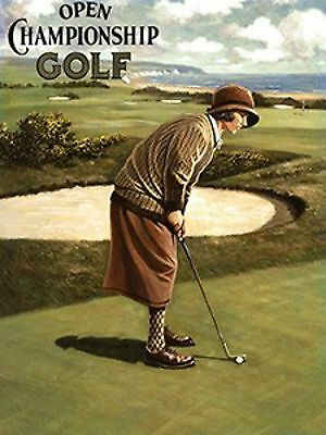 """Golf - Open golf championship woman  Vintage style repo metal wall sign 8"""" X 6"""""""