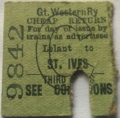 GWR Half Ticket Lelant to St Ives 1941