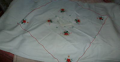 Linen & lace large vintage tablelcoth  and cotton xmas cloth and serviettes