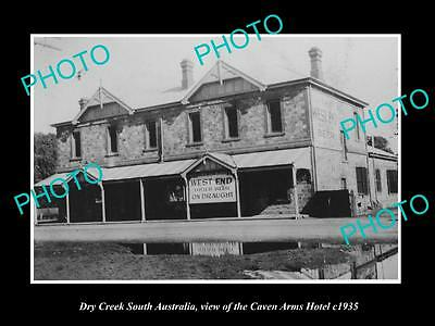 OLD LARGE HISTORIC PHOTO OF DRY CREEK SOUTH AUSTRALIA, CAVEN ARMS HOTEL c1935