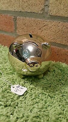 PIG SILVER PLATED PIGGY BANK W/ Stopper