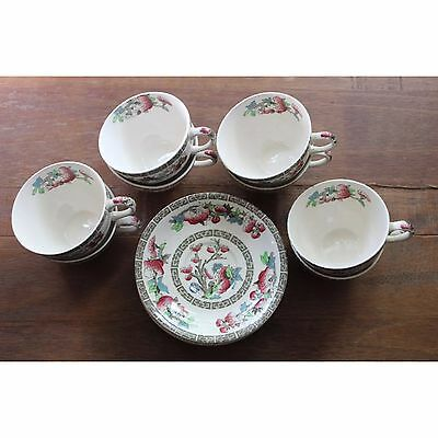 """VTG Set of 8 Johnson Brothers """"Indian Tree"""" Cups and Saucers Fine English China"""