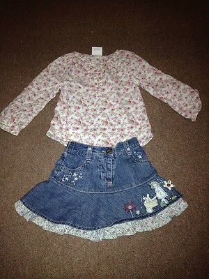 Lovely Next Outfit Denim Skirt And Smock Top 12-18 Months