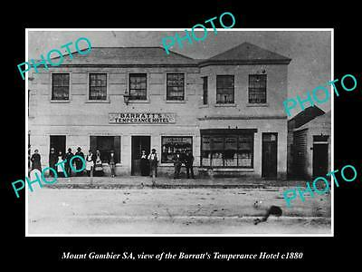 OLD LARGE HISTORIC PHOTO OF MOUNT GAMBIER SA, VIEW OF THE TEMPERANCE HOTEL c1880