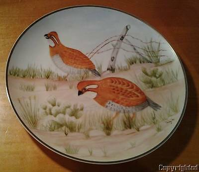 """Vintage OOAK Hand Painted Quail Gold Trimmed 10"""" Plate Signed Texas Cactus 1986"""