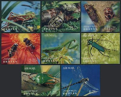 Bhutan 1960 Insects 3D sheets Michel 269-276,Bl.21-22.  MNH