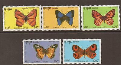 CAMBODIA : 1993 Butterflies set SG1295-9 unmounted mint