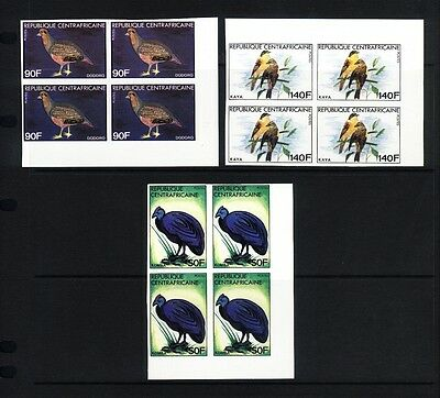 Central African Rep. 1981 Birds  Imperf in blocks 4 MNH