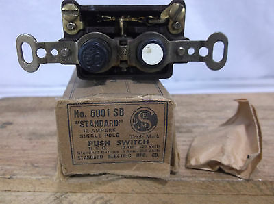 Vintage Standard electric co. of Chicago House Push Button Electric Switch 5001