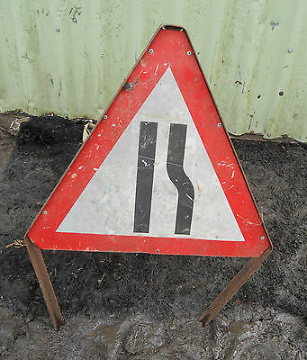 METAL Free STANDING Traffic Highway A-BOARD ROADSIGN Road Sign - ROAD NARROWS