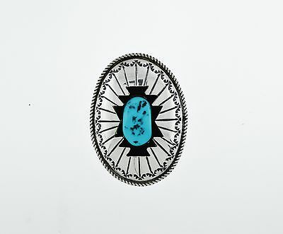 Native American Navajo Wilbert Muskett Sterling Silver Turquoise Shadowbox Bolo