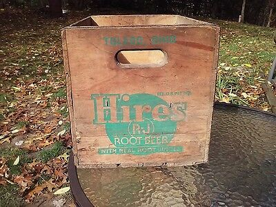 Vtg 1950s Hires Root Beer Variety Club Crate Case Carrier Wood Family Full Quart