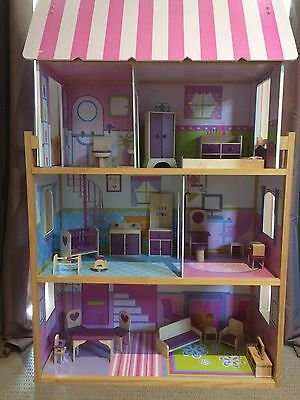 Barbie 3-Storey Doll House And Wooden Furniture