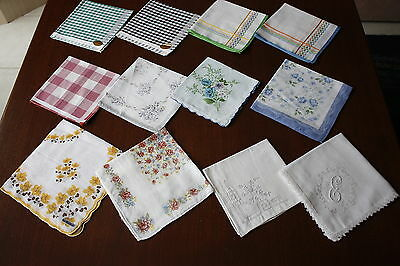 12x Vintage Cotton Embroidered & Crocheted New & Used HANKIES