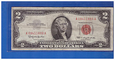 1963 $2 Dollar Bill Old Us Note Legal Tender Paper Money Currency Red Seal S81