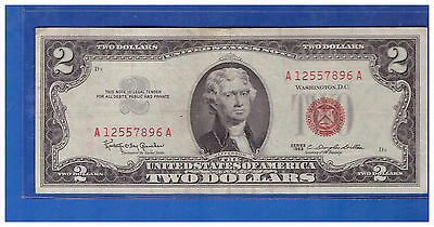 1963 $2 Dollar Bill Old Us Note Legal Tender Paper Money Currency Red Seal S83
