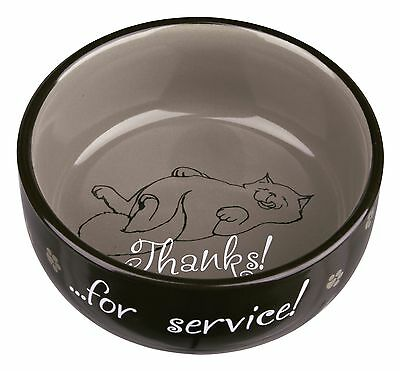 New 1 x Trixie Ceramic - Thanks For Service - Food / Water Cat Bowl Dish 24793