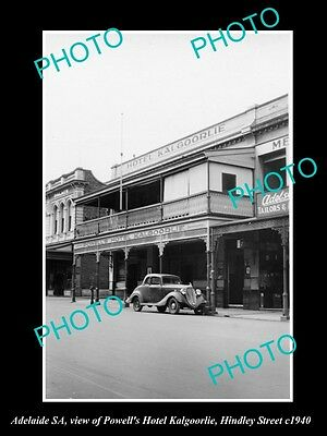 OLD LARGE HISTORIC PHOTO OF ADELAIDE SA, VIEW OF HOTEL KALGOORLIE, c1940 HINDLEY