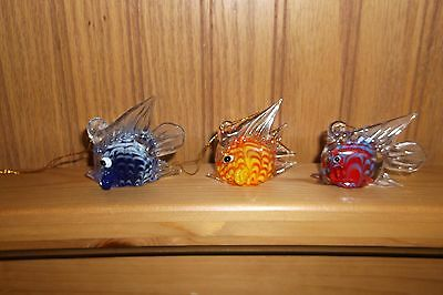 Group Of 3 Small Glass Fish