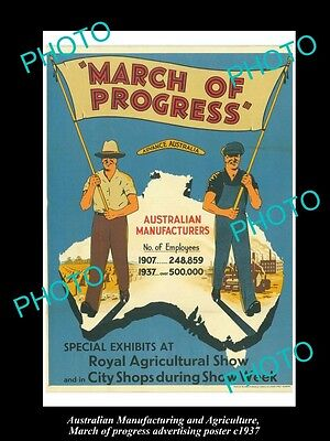 Old Historic Australian Advertising Poster, Manufacturing March Of Progress 1937