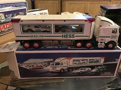 1997 Hess truck with race cars! New in box!  Hess semi truck and racecars!