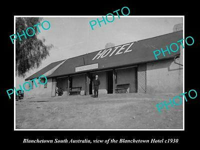 OLD LARGE HISTORIC PHOTO OF BLANCHETOWN SOUTH AUSTRALIA, THE TOWN HOTEL c1930