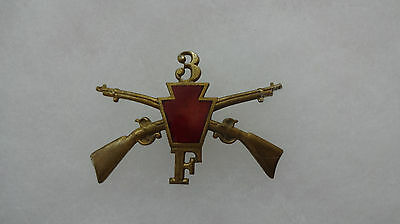 Pennsylvania National Guard Infantry Hat Badge, 1st Brigade, 3rd Regt, Co F