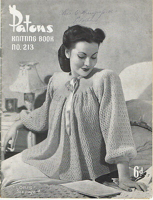 old VINTAGE 1940s 1950s LADIES FASHION KNITS Patons knitting pattern Book 213