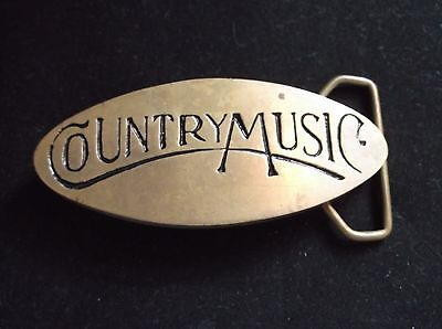 "Vintage Solid Brass ""country Music"" Belt Buckle #713  4"""