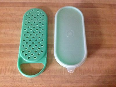 Vintage Tupperware green oval cheese grater and storage bowl with lid