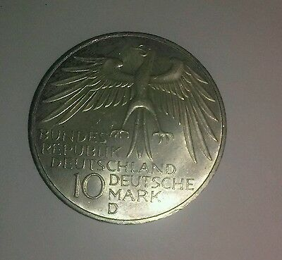 1972-D Federal West Germany Silver 10 Mark , Nice Uncleaned Coin , Choice Unc.!!