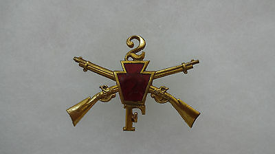 Pennsylvania National Guard Infantry Hat Badge, 1st Brigade, 2nd Regt, Co F