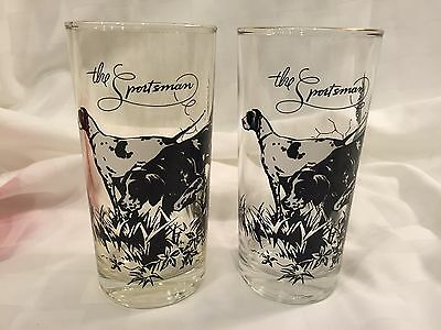 """REDUCED! Set of 2 Vintage HTF Cocktail Glasses """"The Sportsman"""" with Hunting Dogs"""