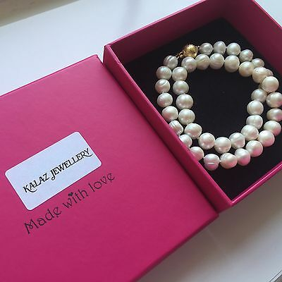 SALE! Real Classic 100%Genuine White Freshwater 10mm Round Pearl Necklace Boxed