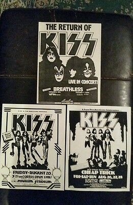 """Set of 3 super rare KISS concert flyers 1976, 77, 79. From """"Southern California"""""""