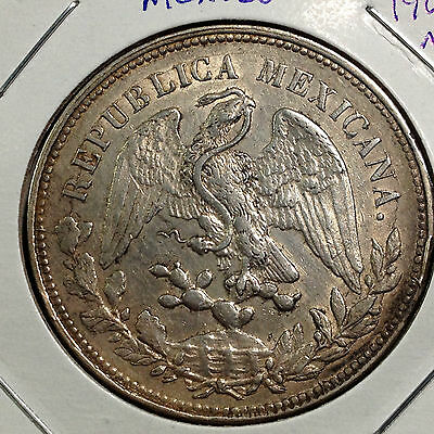 MEXICO 1901 MoAM SILVER PESO SCARCE BEAUTIFUL CROWN COIN