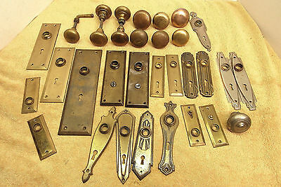 Vintage Antique Lot Of Brass Door Knobs Backing Plates & Hardware