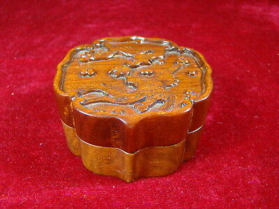 Chinese 1920's nice carved small wood box  p891