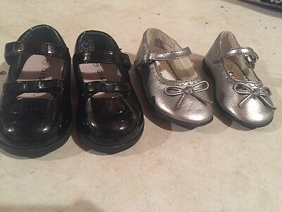 Lot Of 2 Baby Girl Size 3 Dress Shoes Black Patent Leather Silver Toddler George