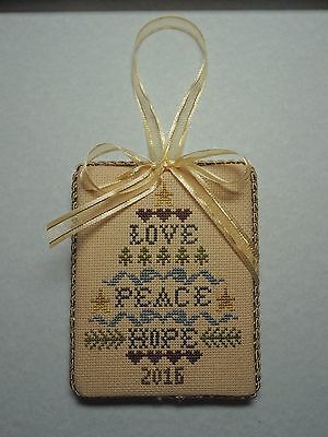 "Finished Completed Cross Stitch ""'LOVE PEACE HOPE"" Door Hanger Ornament"