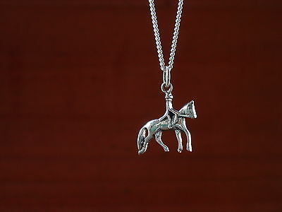 Dressage Horse and Rider Pendant with Chain,Equestrian Jewelry,Dressage Horse