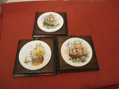 Set of 3 Round Ceramic Tiles with Tall Sailing Ships Pictures mounted on Wood