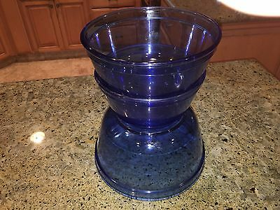 Anchor Hocking Set Of 3 Cobalt Blue Colored Mixing Bowls
