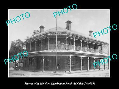 OLD LARGE HISTORIC PHOTO OF MARRYATVILLE ADELAIDE SA, VIEW OF THE HOTEL c1890