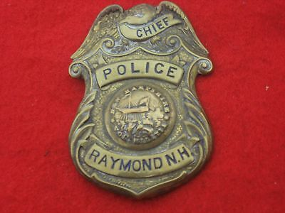 vintage and obsolete 1930s Raymond New Hampshire Police Chief's  badge