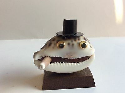 Vintage Shell Art Man with Top Hat and a Cigar Googley Eyes