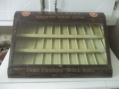 Antique STAR TWIST STORE DISPLAY SPOOL SEWING CABINET METAL ADVERTISING  UNIQUE