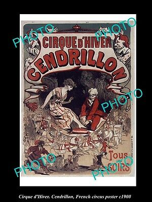OLD LARGE HISTORIC PHOTO OF FRENCH CIRCUS POSTER, c1900 CIRQUE d'HIVER