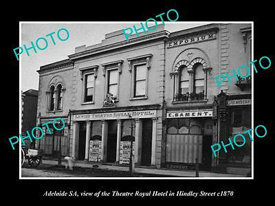 OLD LARGE HISTORIC PHOTO OF ADELAIDE SA, THEATRE ROYAL HOTEL, HINDLEY St c1870